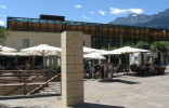 The modern spa building of the thermal baths of merano.