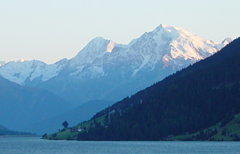 View to the Ortler from the Reschen lake within the Vinschgau.